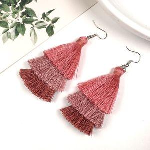Multicolored Tiered Tassel Dangle Earrings (Dark)